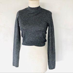 EXPRESS • silver & black metallic cropped sweater